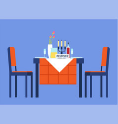 Reserved table restaurant table with tablecloth vector