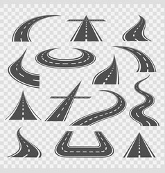 road curves isolated on transparent vector image