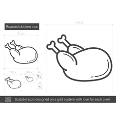 Roasted chicken line icon vector image