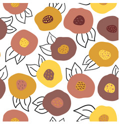 seamless autumn doodle flowers pattern vector image