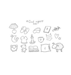 Set for sleep lovely things for the bedroom good vector