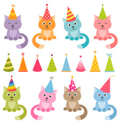 set of cats and colorful birthday hats vector image