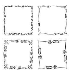 set of flourish squiggly frames vector image