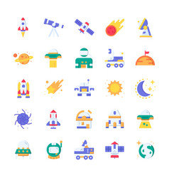 Set space icons with flat style vector