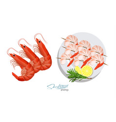 shrimps on a skewer with rosemary and lemon on the vector image