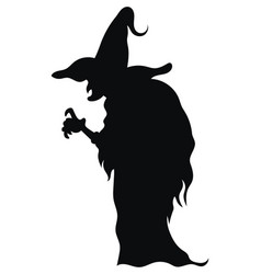 Silhouette a witch in a hat black white vector