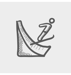 Skier jump in the air sketch icon vector