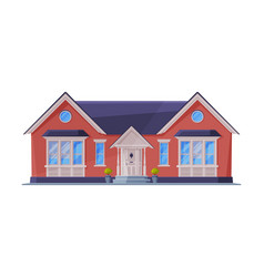 small cottage facade red residential house vector image