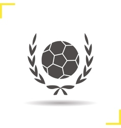 Soccer ball in laurel wreath icon vector