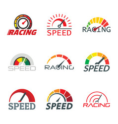 Speedometer level indicator logo set flat style vector