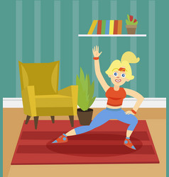 Sportive young woman exercising on the background vector