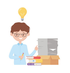 Stress at work businessman many papers on box vector