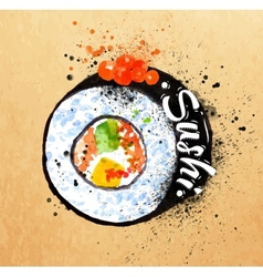 Sushi poster watercolor vector image