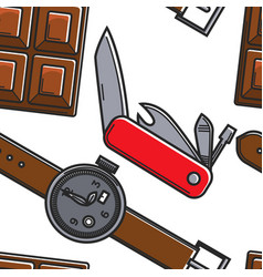 swiss symbols seamless pattern chocolate knife and vector image