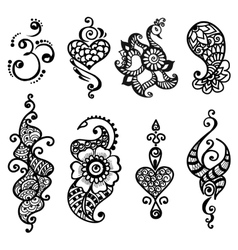 tattoo henna mandala set vector image