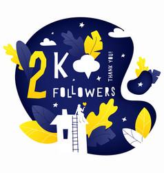 Thank you 2k followers post vector