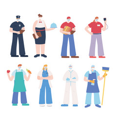 thank you essential workers appreciation people vector image