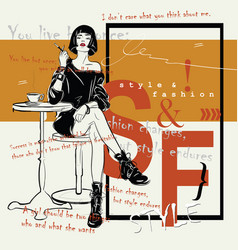 the fashiongirl in sketch style sits in cafe vector image