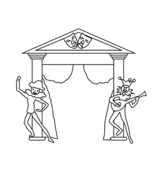 Theater stage with open curtains and actors icon vector