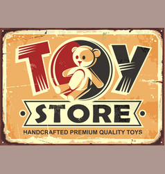 toy store vintage metal sign vector image