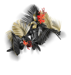 tropical black and gold leaves on white background vector image
