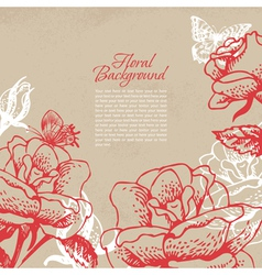 Vintage floral background with butterflies vector