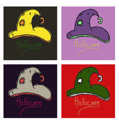 Witch hats isolated on background halloween vector