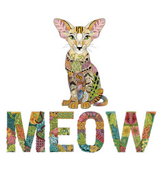 Word meow with a drawing of a cat vector