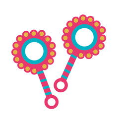 color silhouette with baby rattle vector image