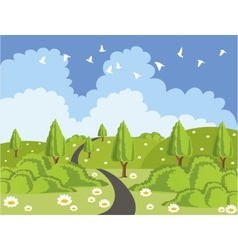 Green landscape with road vector image