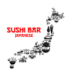 japanese food in map of japan with seafood sushi vector image vector image