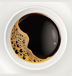 realistic cup of coffee top view closeup vector image