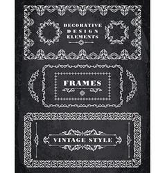 Set of Retro Vintage Frames and Borders Chalk vector image vector image