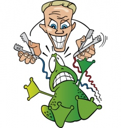crazy scientist and frightened frog vector image vector image