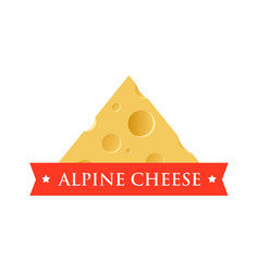 emblem with piece of cheese with holes vector image
