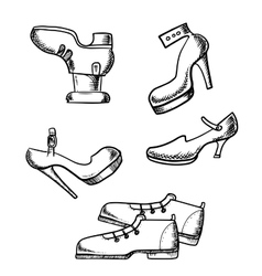 Male boots and female high heeled shoes vector image