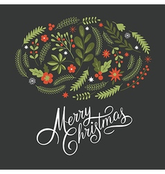 Merry Christmas Lettering on a dark background vector image vector image