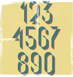 Numbers retro font design element mockup old vector image