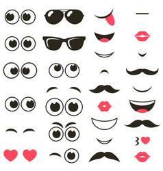 set of cartoon eyes and mouths vector image vector image