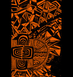 bright ethnic pattern black outline on an orange vector image
