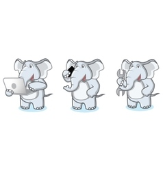 Gray Elephant Mascot with laptop vector image vector image