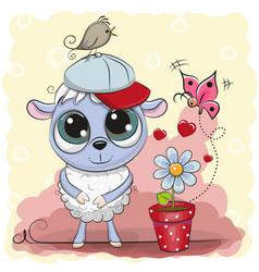 greeting card cute sheep with flower vector image