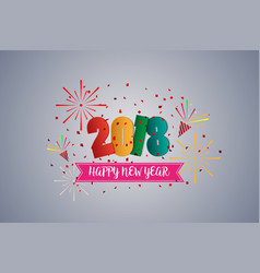 happy new year 2018 colorful greetings card and vector image