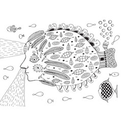 surreal fish submarine in ocean doodle line vector image