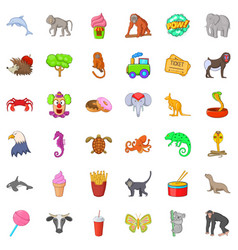 funny circus icons set cartoon style vector image vector image