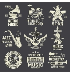 Music School And Shops Monochrome Emblems vector image vector image