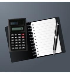 Open notebook calculator and pen vector image vector image