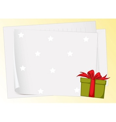 paper sheets and gift box vector image vector image