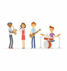school music band - cartoon people characters vector image
