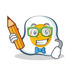 student fried egg character cartoon with pencil vector image vector image